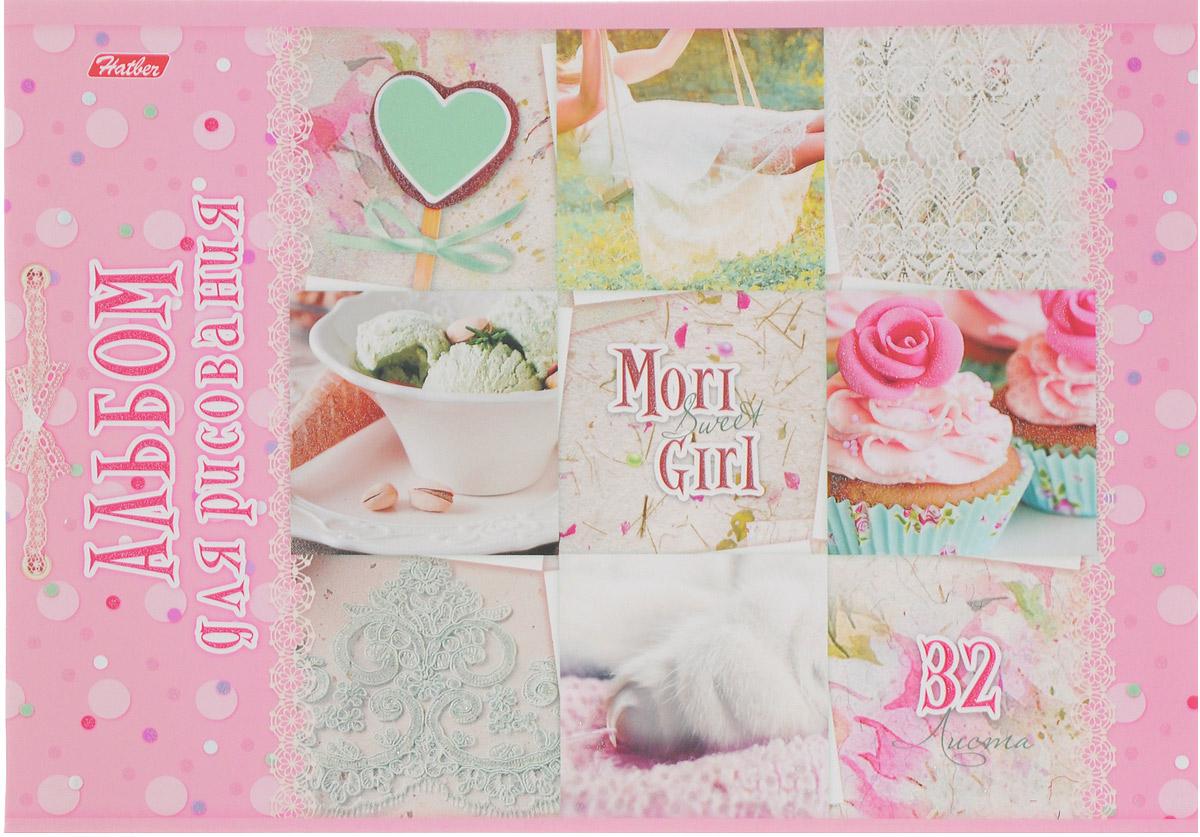 Hatber Альбом для рисования Sweet Mori Girl 32 листа 145512010440Альбом для рисования Hatber Sweet Mori Girl порадует маленькую художницу и вдохновит ее на творчество. Альбом изготовлен из белоснежной бумаги с яркой обложкой из плотного картона, оформленной милыми картинками и блестками.Внутренний блок альбома, соединенный двумя металлическими скрепками, состоит из 32 листов. Высокое качество бумаги позволяет рисовать в альбоме карандашами, фломастерами, акварельными и гуашевыми красками.
