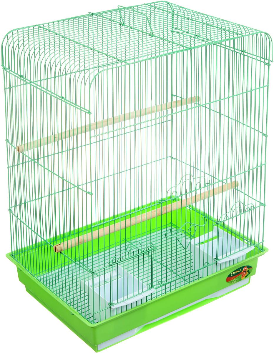 Клетка для птиц Triol, цвет: зеленый, 43 х 30,5 х 58 см0120710Клетка для птиц Triol, выполненная из пластика и металла с эмалированным покрытием, предназначена для мелких птиц. Вы можете поселить в нее одну или две птицы.Изделие состоит из большого поддона и решетки. Клетка снабжена металлической дверцей и двумя окошками, которые открываются и закрываются движением вверх-вниз. В основании клетки находится малый выдвижной поддон с металлической решеткой сверху. Поддон удобно и легко чистить, так как он выдвигается из клетки, не беспокоя питомцев. Клетка также оснащена двумя кормушками и двумя жердочками. Комплектация: - клетка, - малый поддон с решеткой, - кормушка: 2 шт., - жердочка: 2 шт.Размер кормушки: 12 х 9,3 х 7 см. Длина жердочки: 30 см. Размер малого поддона: 36,5 х 24,5 х 2 см. Размер большого поддона: 42,5 х 30 х 9 см.Размер клетки: 43 х 30,5 х 58 см.