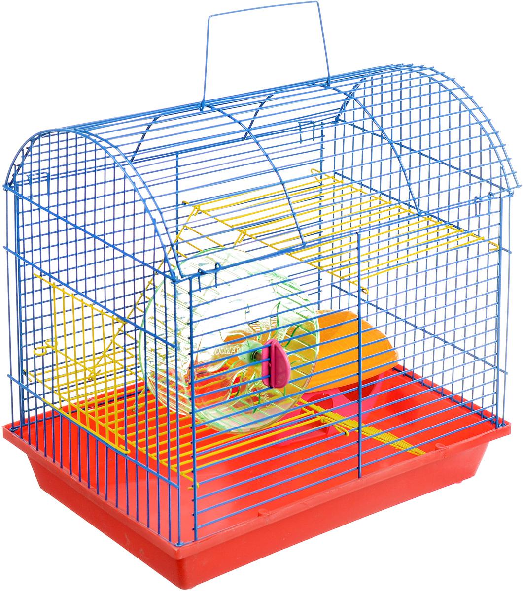 Клетка для грызунов ЗооМарк, 2-этажная, цвет: красный поддон, синяя решетка, желтые этажи, 37 х 23 х 35 см0120710Клетка ЗооМарк, выполненная из полипропилена и металла, подходит для мелких грызунов. Изделие двухэтажное, оборудовано колесом для подвижных игр и пластиковым домиком. Клетка имеет яркий поддон, удобна в использовании и легко чистится. Сверху имеется ручка для переноски. Такая клетка станет уединенным личным пространством и уютным домиком для маленького грызуна.