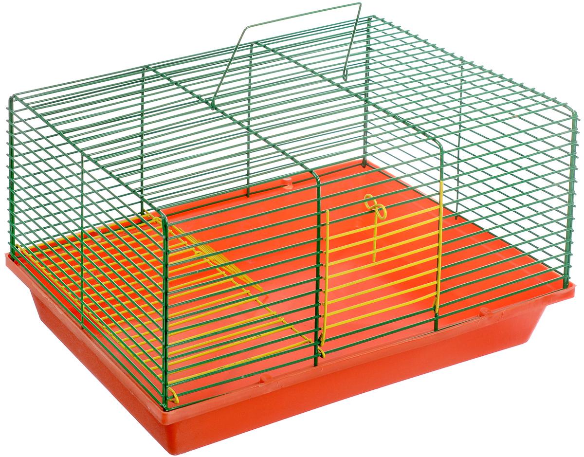 Клетка для хомяка ЗооМарк, 2-этажная, цвет: красный поддон, зеленая решетка, желтый этаж, 36 х 23 х 20 см0120710Двухэтажная клетка Зоомарк, выполненная из полипропилена и металла, подходит для хомяков или других небольших грызунов. Она имеет яркий поддон, удобна в использовании и легко чистится. Такая клетка станет уединенным личным пространством и уютным домиком для маленького грызуна.