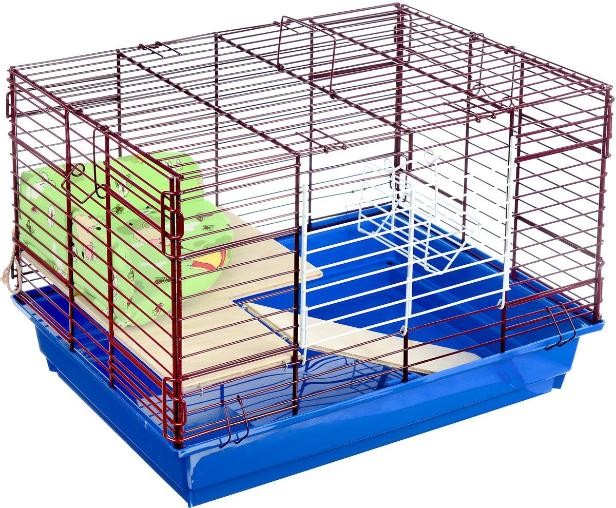 Клетка для кролика ЗооМарк, 2-этажная, цвет: синий поддон, бордовая решетка, 59 х 40 х 41 см0120710Клетка ЗооМарк, выполненная из полипропилена и металла, подходит для кроликов. Изделие двухэтажное, оборудовано кормушкой и небольшим угловым диванчиком. Клетка имеет яркий поддон, удобна в использовании и легко чистится. Сверху имеется ручка для переноски. Такая клетка станет уединенным личным пространством и уютным домиком для маленького грызуна.
