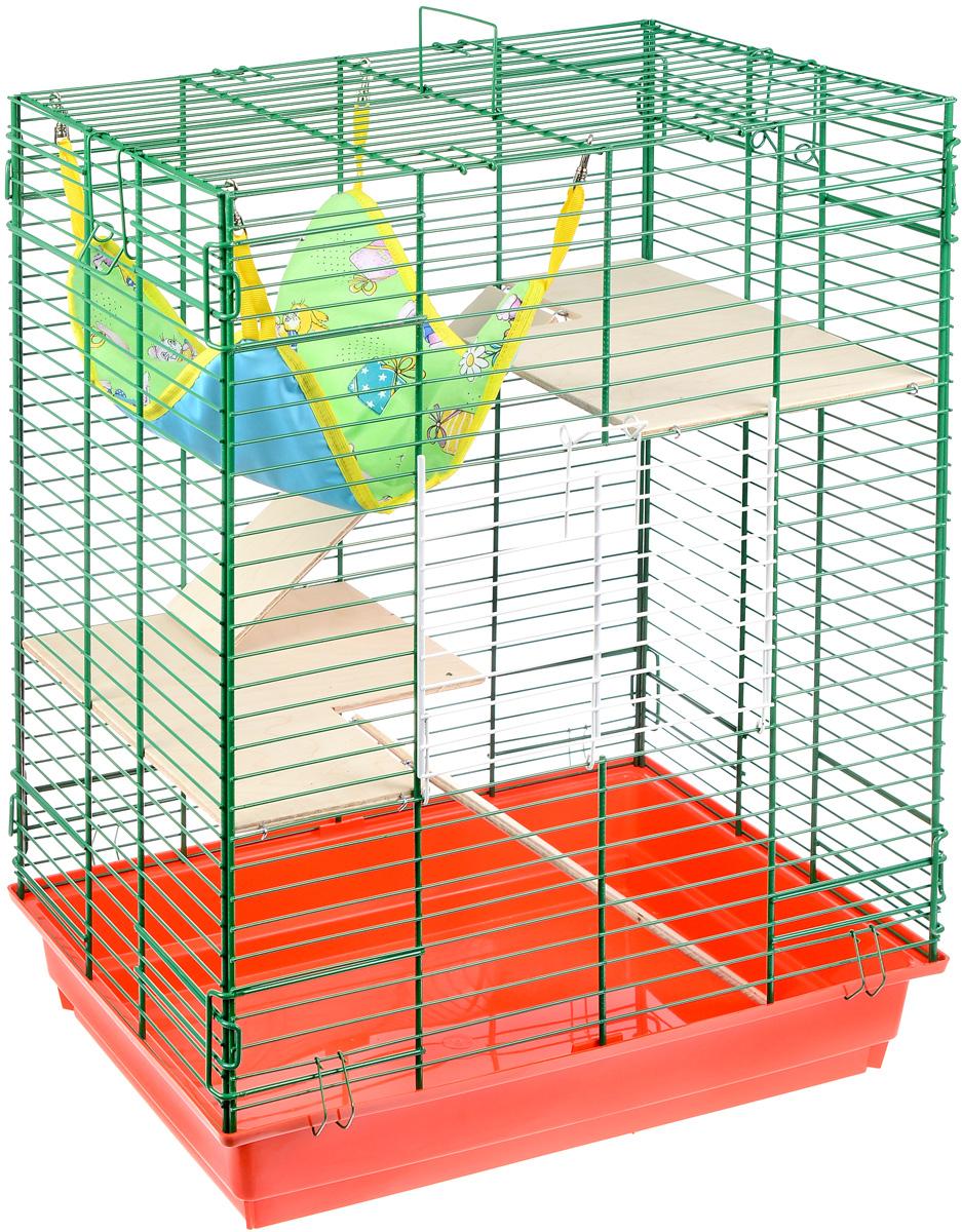 Клетка для шиншилл и хорьков ЗооМарк, цвет: красный поддон, зеленая решетка, 59 х 41 х 79 см. 725дк0120710Клетка ЗооМарк, выполненная из полипропилена и металла, подходит для шиншилл и хорьков. Большая клетка оборудована длинными лестницами и гамаком. Изделие имеет яркий поддон, удобно в использовании и легко чистится. Сверху имеется ручка для переноски. Такая клетка станет уединенным личным пространством и уютным домиком для грызуна.