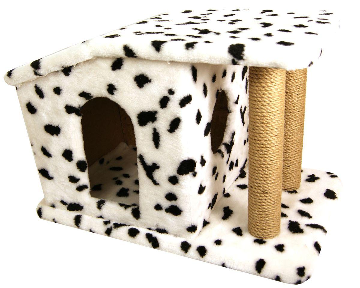 Игровой комплекс для кошек Меридиан Патриция, с домиком и когтеточкой, цвет: белый, черный, бежевый, 63 х 40 х 41 см0120710Игровой комплекс для кошек Меридиан Патриция выполнен из высококачественного ДВП и ДСП и обтянут искусственным мехом. Ваш домашний питомец будет с удовольствием точить когти о специальные столбики, изготовленные из джута. А отдохнуть он сможет в домике.