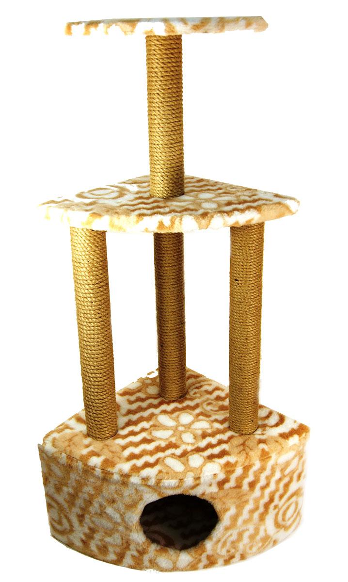 Игровой комплекс для кошек Меридиан, 3-ярусный, угловой, с домиком и когтеточкой, цвет: белый, бежевый, 59 х 43 х 111 см145Игровой комплекс для кошек Меридиан выполнен из высококачественного ДВП и ДСП и обтянут искусственным мехом. Комплекс имеет 3 яруса. Ваш домашний питомец будет с удовольствием точить когти о специальные столбики, обтянутые джутом, а отдохнуть он сможет на полках или в домике.