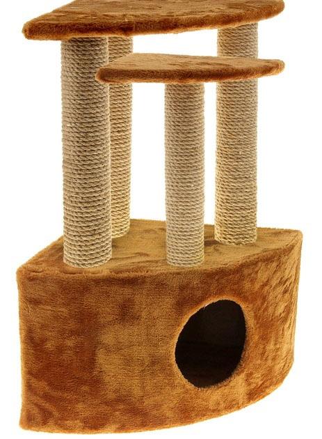 Домик-когтеточка Меридиан, угловой, трехэтажный, цвет: светло-коричневыйД436 СКДомик-когтеточка Меридиан выполнен из высококачественного ДВП и ДСП и обтянут искусственным мехом. Комплекс имеет 3 яруса. Ваш домашний питомец будет с удовольствием точить когти о специальные столбики, обтянутые джутом, а отдохнуть он сможет на полках или в домике.