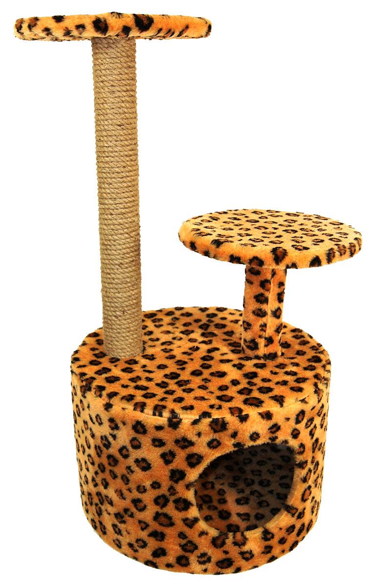 Игровой комплекс для кошек Меридиан, с когтеточкой и двумя полками, цвет: коричневый, черный, бежевый, 40 х 40 х 81 см12171996Игровой комплекс для кошек Меридиан выполнен из высококачественного ДВП и ДСП и обтянут искусственным мехом. Ваш домашний питомец будет с удовольствием точить когти о специальные столбики, изготовленные из джута. А отдохнуть он сможет на полках или в домике.