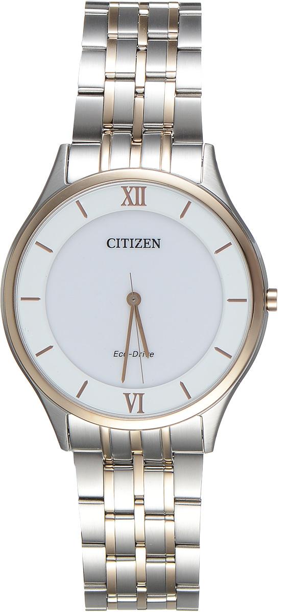 Часы наручные мужские Citizen Eco-Drive, цвет: белый, стальной. AR0075-58ABM8434-58AEСтильные мужские часы Citizen Eco-Drive выполнены из нержавеющей стали. Циферблат изделия оформлен символикой бренда.Корпус часов оснащен степенью влагозащиты 3 bar, а также устойчивым к царапинам сапфировым стеклом. Циферблат дополнен индикатором числа. Элегантный браслет, идеально дополняющий корпус изделия, оснащен застежкой-бабочкой, которая позволит максимально комфортно снимать и надевать часы.Современная технология Eco-Drive позволяет заряжать аккумулятор изделия с помощью любого естественного или искусственного источника света.Изделие поставляется в фирменной упаковке.Часы Citizen Eco-Drive подчеркнут мужской характер и отменное чувство стиля у их обладателя.