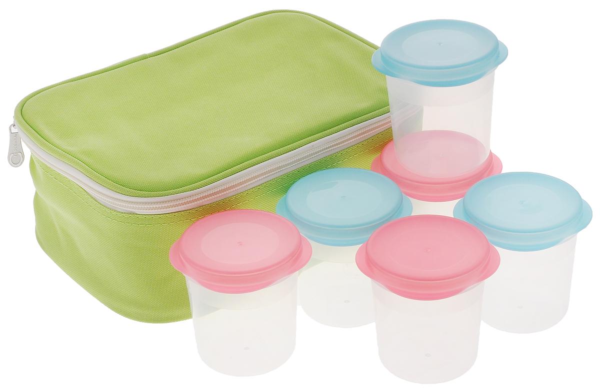 Йогуртница Tescoma Bambini, 6 стаканчиков, с термосумкой68/5/4Йогуртница Tescoma Bambini прекрасно подходит для простого и быстрого приготовления домашних йогуртов. Йогурты созревают естественным способом в стаканчиках, хранящихся в термосумке с эффективным термоизоляционным вкладышем. Стаканчики пригодны для хранения в холодильнике, морозильнике, использования в микроволновой печи и в посудомоечной машине. Термосумку очищайте влажной салфеткой, не стирайте в стиральной машине и сушилке, не гладьте. Инструкция по приготовлению домашнего йогурта входит в упаковку. Объем стаканчика: 150 мл. Диаметр стаканчика (по верхнему краю): 7 см. Высота стаканчика: 8 см. Размер сумки: 25 х 18 х 10 см.