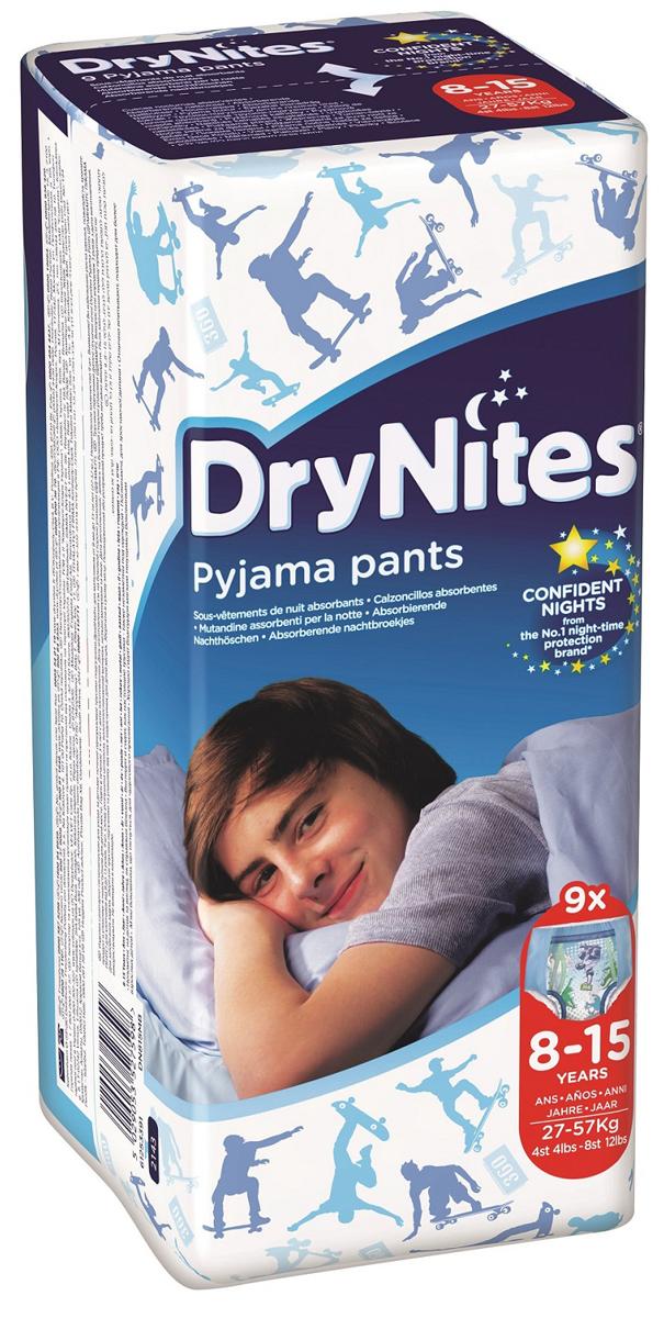 Huggies Подгузники-трусики для мальчиков DryNites 8-15 лет 9 шт, Kimberly-Clark