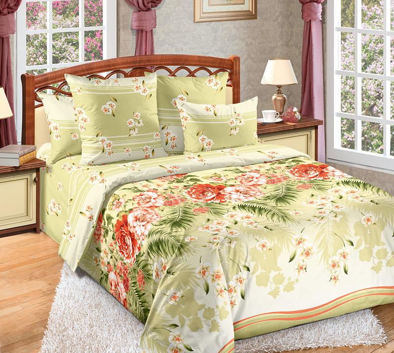 Комплект белья Primavera Тропиканка, 2-спальный, наволочки 70x70, цвет: светло-зеленый68/5/3Наволочки с декоративным кантом особенно подойдут, если вы предпочитаете класть подушки поверх покрывала. Кайма шириной 5-10см с трех или четырех сторон делает подушки визуально более объемными, смотрятся они очень аккуратно, даже парадно. Еще такие наволочки называют оксфордскими или наволочками «с ушками».Сатин – прочная и плотная ткань с диагональным переплетением нитей. Хлопковый сатин по мягкости и гладкости уступает атласу, зато не будет соскальзывать с кровати. Сатиновое постельное белье легко переносит стирку в горячей воде, не выцветает. Прослужит комплект из обычного сатина меньше, чем из сатина повышенной плотности, но дольше белья из любой другой хлопковой ткани. Сатин приятен на ощупь, под ним комфортно спать летом и зимой.Производство «Примавера» находится в Китае, что позволяет сократить расходы на доставку хлопка. Поэтому цены на это постельное белье более чем скромные и это не сказывается на качестве. Сатин очень гладкий, мягкий, но при этом, невероятно прочный. Он прослужит вам действительно долго и не полиняет. Для нанесения рисунков используют только безопасные для окружающей среды и здоровья человека красители.