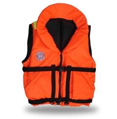 Жилет спасательный Плавсервис Hunter, цвет: оранжевый. Размер 66-72, вес до 140 кгF75Cпасательный жилет Плавсервис Hunter - предназначен для людей ведущих активный образ жизни на воде, рыбаков и охотников. Комплектуется свистком и светоотражающими лентами. Есть отдельный карман для хранения паховой стропы, новые, увеличенные в объеме, наружные скошенные карманы на липучках. Низ жилета стал более собран для придания ему лучшей формы. В комплект жилета входят регулировочные ремни, светоотражающие полосы, карманы, молния, свисток, паховая стропа, воротник. Это самая бюджетная модель наших размерных жилетов, но функционально Hunter не подведет своего владельца при попадании в воду. В воде, с помощью элементов плавучести, Hunter перевернет владельца в положение лицом вверх и удержит под углом к горизонту так, чтобы обеспечить безопасное положение головы над водой. Размер жилетов указан в названии и зависит от массы тела (например, Хантер 60) и подойдет подросткам и взрослым, вес которых находится в пределах от 60 до 140 кг. Цвет жилета - ярко-оранжевый. Особенности конструкции спасательного жилета Хантер: подголовник - обязательное условие сертифицированного спасательного жилета. Ткань Оxford 230D PU1000, внутри которой находятся несколько многослойных сегментов из вспененного полиэтилена. Высокий подголовник такой конструкции хорошо держит голову владельца на плаву и в тоже время обладает достаточной гибкостью для складывания жилета при транспортировке.Элементы плавучести, состоящие из набора НПЭ пластин толщиной 8 мм каждая. Пластины на груди вшиты между основной и подкладочной тканью и обеспечивают на воде стабильное положение на воде владельца лицом вверх.Лямка выполнена из ременной ленты плотностью от 16 г/м2 и является стягивающим элементом. В зависимости от размера спасательного жилета ее длина изменяется. Фиксируется фастексами с достаточным запасом прочности или посредством сдвоенных стальных полуколец.
