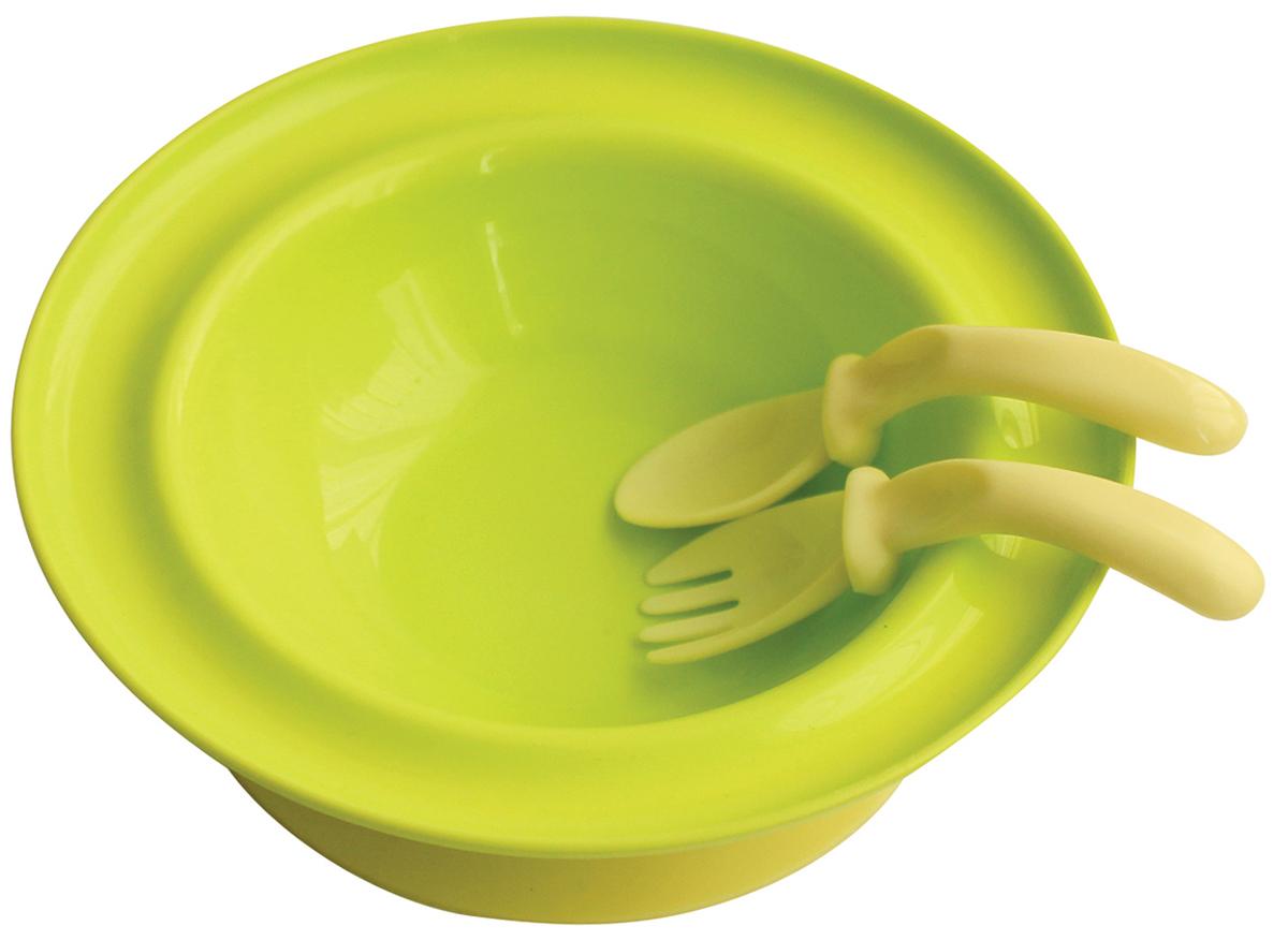 Lubby Набор посуды для кормления 3 предмета цвет салатовый115010Набор для кормления Lubby включает в себя тарелку, вилку и ложку.Тарелка на присоске с приборами незаменима в период, когда ваш малыш учится кушать самостоятельно. Специальная изогнутая форма ложки и вилки комфортно размещается в руке малыша для удобства приема пищи. Присоска позволяет надежно прикрепить тарелку к столу. Для снятия тарелки со стола необходимо потянуть за язычок.Подходит для посудомоечных машин и микроволновых печей.