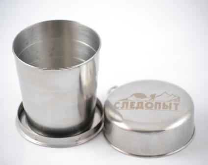 Стакан складной Следопыт, 0,25 л201-3000Складной стакан Следопыт изготовлен из нержавеющей стали. Такой стаканчик станет незаменим в походах и путешествиях, где обычные сосуды для питья были бы слишком громоздки или неудобны.Объем: 250 мл.