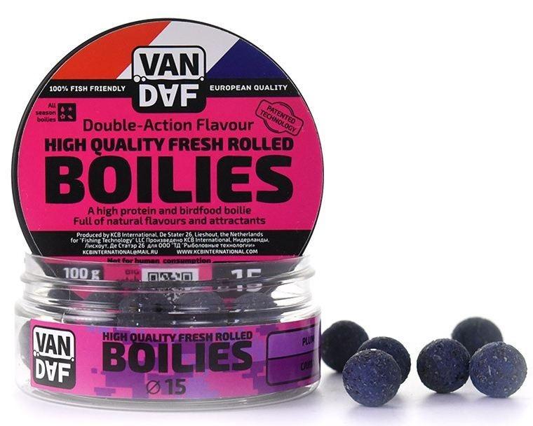 Бойлы VAN DAF Слива, цвет: фиолетовый, диаметр 15 мм, 1 кг95940-905Бойлы VAN DAF Слива произведены на современном оборудовании по технологии D.A.F. (Double Action Flavour). Этот способ производства на протяжении многих лет подтверждает высочайшее качество продукции и показывает отличные результаты на рыболовных сессиях. В особенности данной технологии заложена концепция дуализма, суть которой - в уникальной сочетаемости вкуса и аромата. Бойлы оказывают двойное воздействие на обонятельно-вкусовые рецепторы каждого карпа.Такие бойлы - это высокопротеиновый продукт, изготовленный из высококачественных ингредиентов с использованием казеината кальция, яичного альбумина, рыбной муки, специй, ореховых и бобовых добавок. Обязательным является применение в рецептах N.H.D.C. подсластителя и масляной кислоты (N-Butyric Acid) - веществ, которые зарекомендовали себя, как наиболее эффективные при ловле карпа.Бойлы показывают высокие результаты на водоемах любого типа и полностью адаптированы к российским условиям. Подходят как для прикармливания, так и для насадки. Продукт рассчитан на ловлю при любой температуре воды. Аминокислоты, легко усваиваемые протеины, фруктовые и пряные эфиры, дрожжи и другие сильнодействующие кормовые добавки позволили создать уникальные вкусы и ароматы, стимулирующие рыбу кормиться снова и снова.Диаметр: 15 мм.Товар сертифицирован.