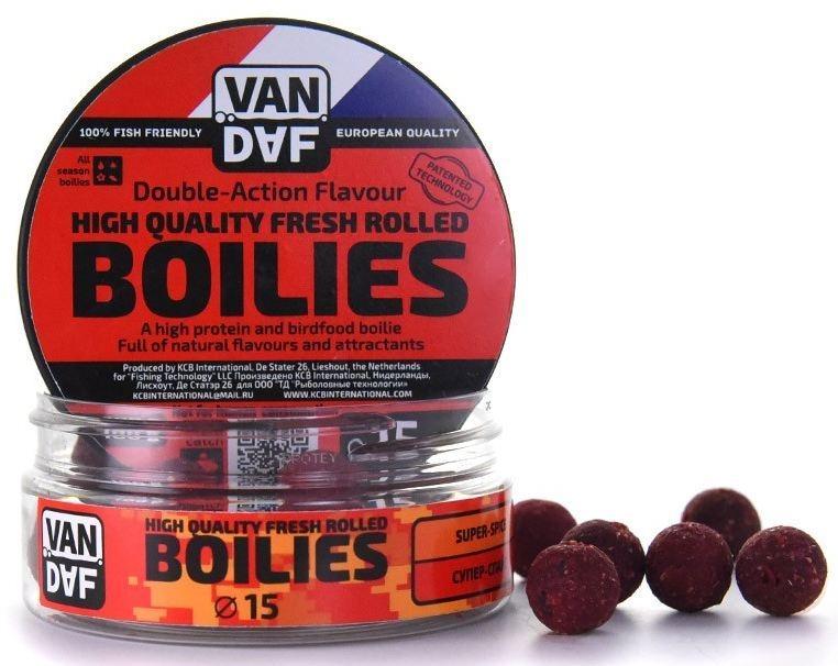 Бойлы VAN DAF Супер-спайс, цвет: красный, диаметр 15 мм, 100 г57320Бойлы VAN DAF Супер-спайс произведены на современном оборудовании по технологии D.A.F. (Double Action Flavour). Этот способ производства на протяжении многих лет подтверждает высочайшее качество продукции и показывает отличные результаты на рыболовных сессиях. В особенности данной технологии заложена концепция дуализма, суть которой - в уникальной сочетаемости вкуса и аромата. Бойлы оказывают двойное воздействие на обонятельно-вкусовые рецепторы каждого карпа.Такие бойлы - это высокопротеиновый продукт, изготовленный из высококачественных ингредиентов с использованием казеината кальция, яичного альбумина, рыбной муки, специй, ореховых и бобовых добавок. Обязательным является применение в рецептах N.H.D.C. подсластителя и масляной кислоты (N-Butyric Acid) - веществ, которые зарекомендовали себя, как наиболее эффективные при ловле карпа.Бойлы показывают высокие результаты на водоемах любого типа и полностью адаптированы к российским условиям. Подходят как для прикармливания, так и для насадки. Это всесезонный продукт, рассчитанный на ловлю при любой температуре воды на протяжении всего года. Аминокислоты, легко усваиваемые протеины, фруктовые и пряные эфиры, дрожжи и другие сильнодействующие кормовые добавки позволили создать уникальные вкусы и ароматы, стимулирующие рыбу кормиться снова и снова.Диаметр: 15 мм.Товар сертифицирован.