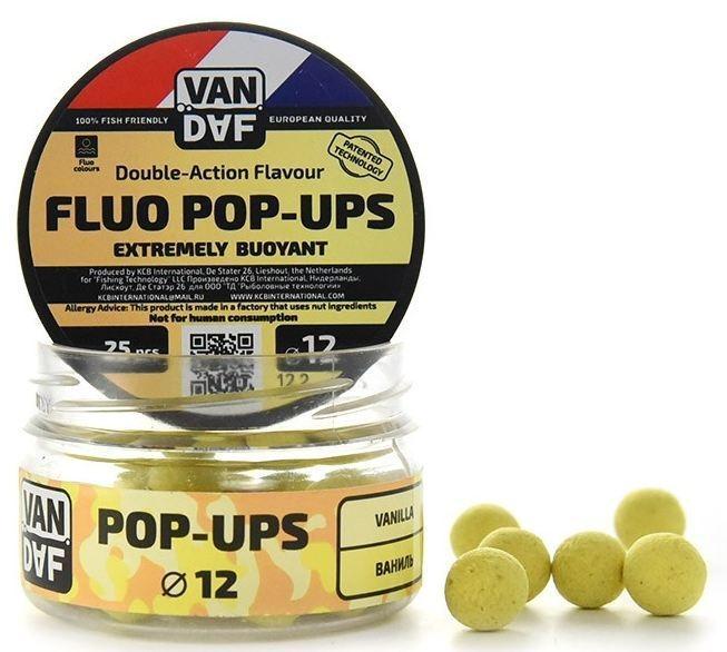 Поп-апы VAN DAF Ваниль, цвет: желтый, диаметр 12 мм, 25 шт49638Поп-апы VAN DAF Ваниль - это невероятно привлекательная насадка с потрясающей видимостью даже в воде с минимальной прозрачностью. Сохраняет положительную плавучесть несколько часов. Поп-апы созданы для традиционной карповой ловли, а в сочетании с жидкими аттрактантами VAN DAF являются отменной насадкой для ловли на FLAT FEEDER (флэт фидер). Поп-апы имеют уникальную мягкую губчатую структуру, отлично впитывающую стимуляторы аппетита и мгновенно отдающую запах в воде.Вы можете без проблем проткнуть их иглой или привязать к волосу. Мягкий и податливый материал легко режется. С помощью ножа или ножниц вы сможете придать любой размер или форму вашей насадке.Каждый POP-UP пропитан ароматизатором с привлекательным для карпа запахом. Яркий флуоресцентный цвет делает насадку на волосе хорошо заметной, а расходящийся от нее запах выделяет ее на дне и провоцирует рыбу на поклевку.Измельчив и добавив их в спод-микс совместно с пеллетсом, зерновыми миксами, резаными бойлами, можно придать смеси активность с помощью всплывающих частиц.Диаметр: 12 мм.Товар сертифицирован.