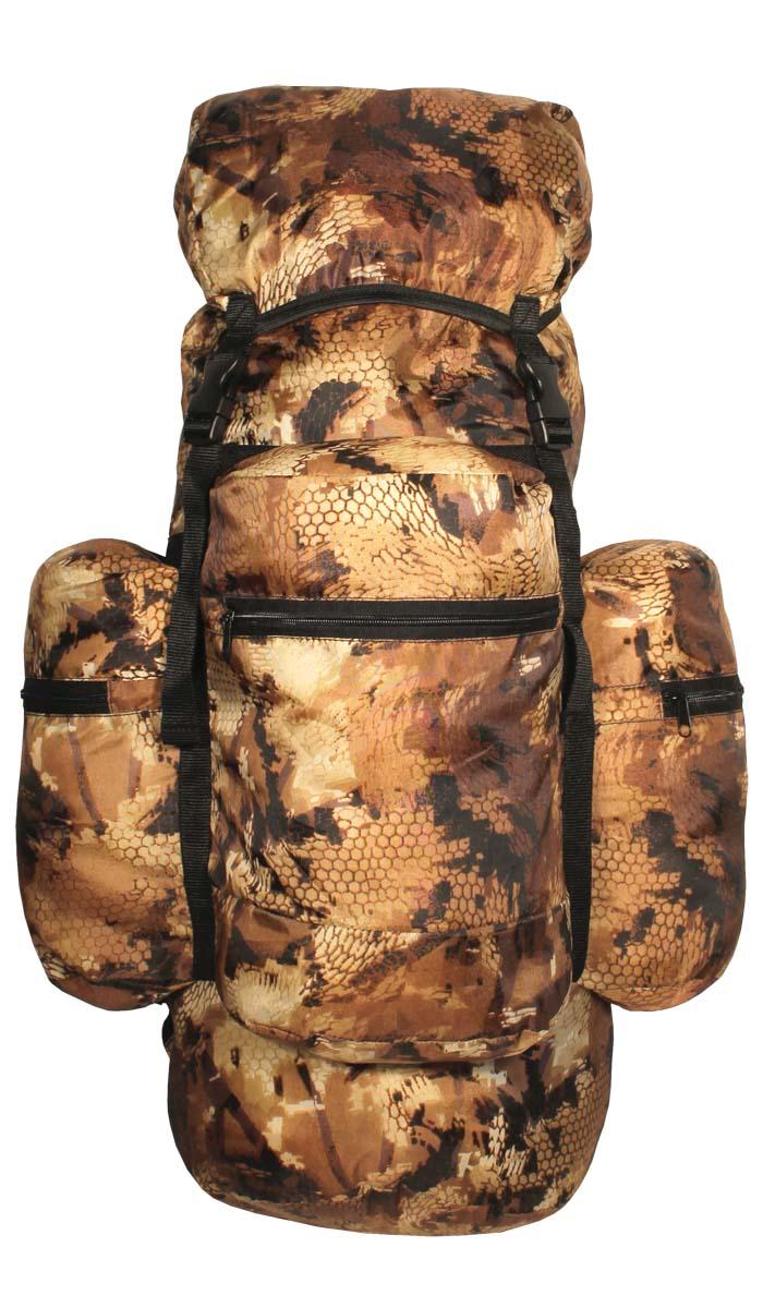Рюкзак Taif Рейд, цвет: лес, 80 л. 5726657266Рюкзак для рыбалки, охоты и активного отдыха. Практичный, прочный и удобный в эксплуатации, с плавающим верхним клапаном. Его основной объем и три больших кармана на молнии вместят все необходимое для снаряжения. Сигарообразная форма и широкие анатомические лямки делают рюкзак комфортным в эксплуатации. Съемный верхний клапан дает возможность укладки спальника, палатки. Технические характеристики: Мягкие регулируемые лямки анатомической формы, Одно большое отделение для снаряжения с утягивающимся входом, Съемный верхний клапан, Три объемных кармана на молнии, Регулировка высоты клапана при помощи строп, Усилительные стропы