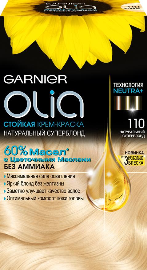Garnier Стойкая крем-краска для волос Olia без аммиака, оттенок 110, УльтраблондC5424200Garnier Olia - первая стойкая крем-краска без аммиака c цветочным маслом. Olia обеспечивает максимальную силу цвета и заметно улучшает качество волос. Обеспечивает уникальное чувственное нанесение, оптимальный комфорт кожи головы и обладает изысканным цветочным ароматом. Узнай больше об окрашивании на http://coloracademy.ru//В состав упаковки входит: тюбик с молочком-проявителем; тюбик с крем-краской; флакон с бальзамом-уходом для волос Шелк и Блеск;инструкция; пара перчаток .