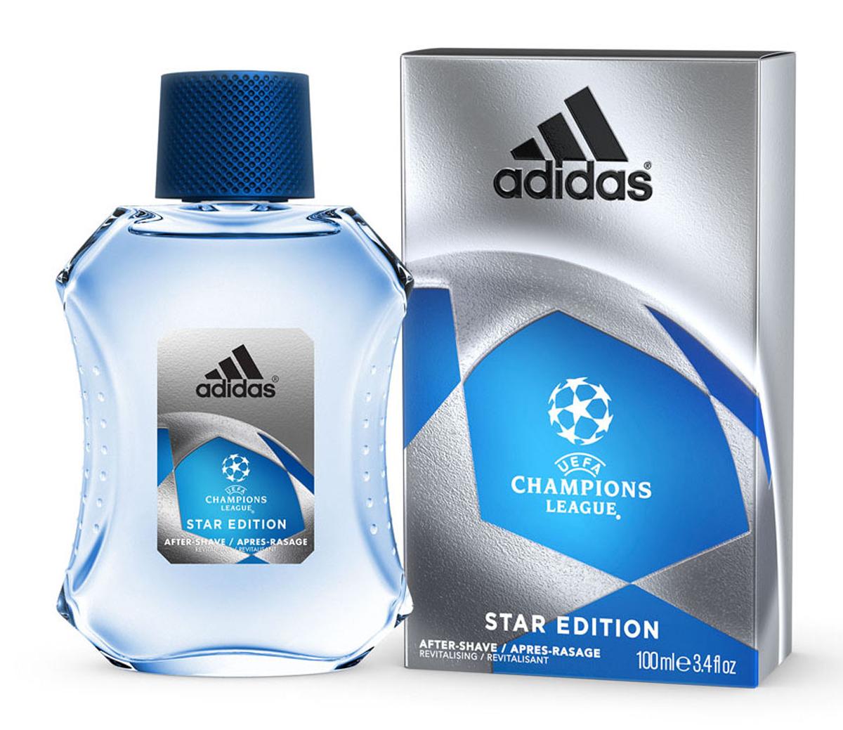 Adidas Лосьон после бритья UEFA II Champions League Star EdItion, 100 мл1301210Лосьон после бритья Adidas UEFA Champions League Star Edition содержит формулу со специальным комплексом skin protect complex, который защищает кожу, уменьшает раздражение, заряжает энергией. Основные компоненты комплекса: - аллантоин увлажняет и успокаивает кожу, заживляет мелкие порезы; - витамины защищают кожу от антиоксидантов; - минеральные соли заряжают энергией и тонизируют; - спирт обладает антибактериальным действием; - UF фильтры защищают кожу от ультра фиолетовых лучей.