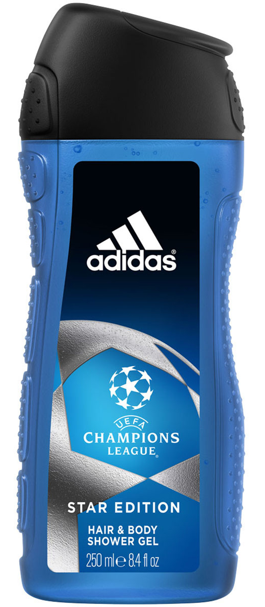 Adidas Гель для душа UEFA II, мужской, 250 млAC-2233_серыйAdidas UEFA Champions League Star Edition - гель для душа для тела и волос для мужчин. Его свежий динамичный аромат пробудит ваши чувства. Подходит для ежедневного применения / Не нарушает pH баланс / Прошел дерматологическое тестирование.