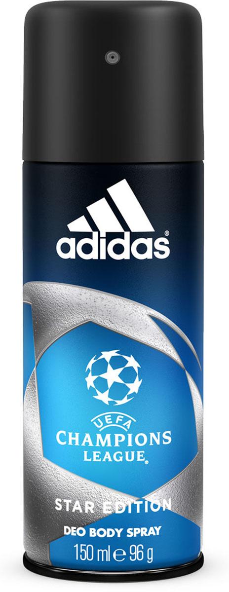 Adidas Дезодорант-спрей UEFA II Champions League Star, мужской, 150 млSatin Hair 7 BR730MNДезодорант-спрей Adidas UEFA Champions League Star с интенсивным цитрусовым древесным ароматом обеспечивает защиту от запаха пота на 24 часа. Охлаждающий комплекс с ментолом Cool Tech активирует экстраохлаждение каждый раз, когда это необходимо, чем интенсивнее физическая нагрузка, тем интенсивнее работает комплекс.