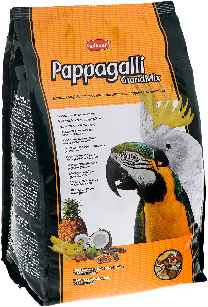 Корм Padovan Pappagalli Grandmix, для крупных попугаев, 2 кг10024Padovan Pappagalli Grandmix - комплексный, высококачественный основной корм со смесью зерен и семян с сушеными фруктами, грецкими орехами и витаминными добавками. Корм предназначен для крупных попугаев (амазон, жако, какаду, ара). Товар сертифицирован.