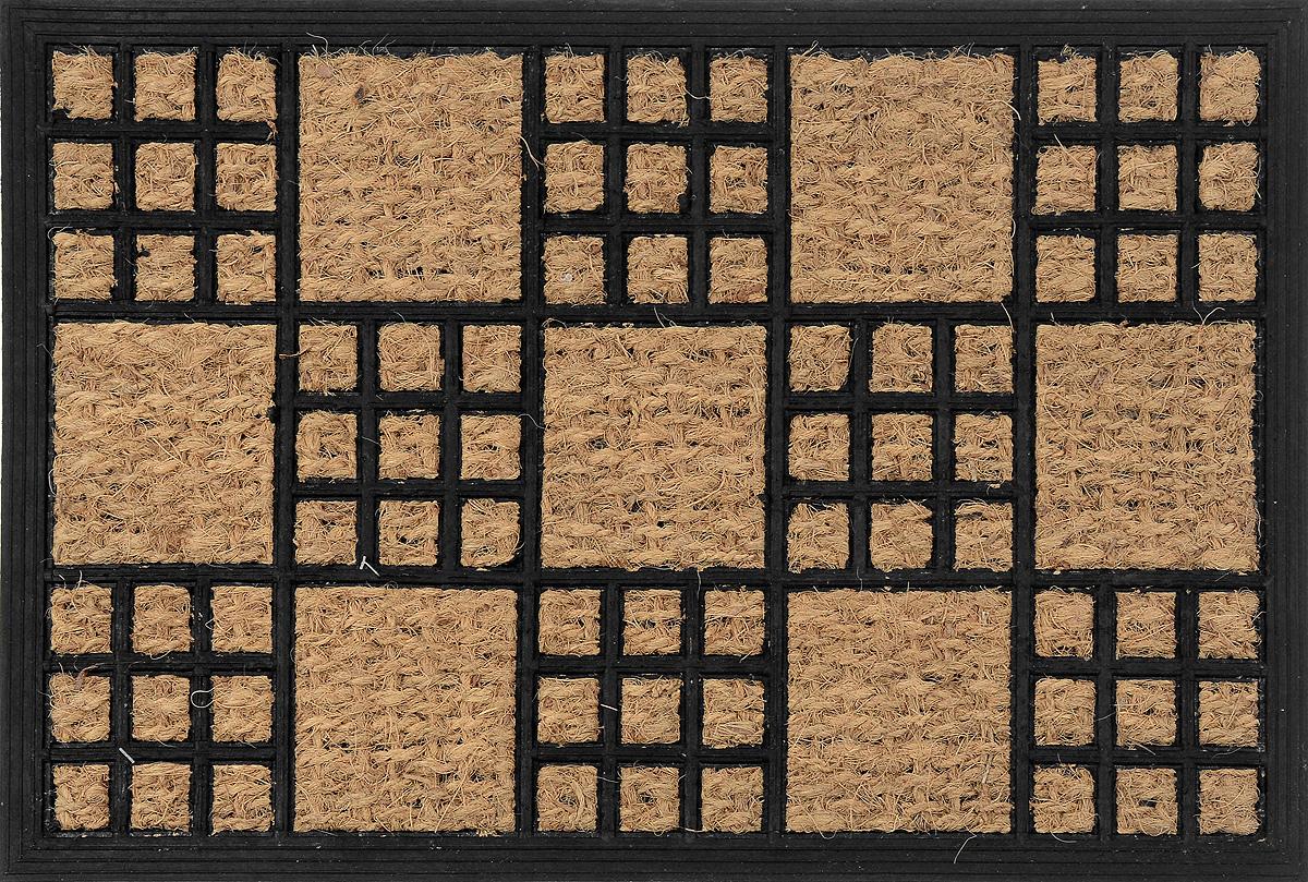 Коврик придверный Shree Sai International Панама, цвет: черный, 60 х 40 смU210DFОригинальный придверный коврик Shree Sai International Панама надежно защитит помещение от уличной пыли и грязи. Он изготовлен из жесткого кокосового волокна и нескользящей резиновой основы. Волокна кокоса не подвержены гниению и не темнеют, поэтому коврик сохранит привлекательный внешний вид на долгое время.