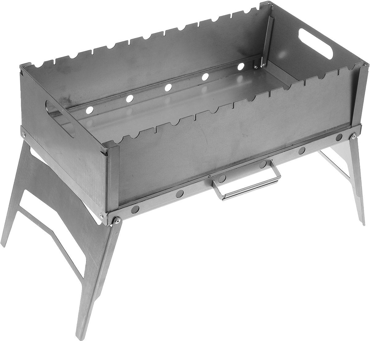 Мангал-трансформер Grillux Optimus Plus, складной, 63 х 28,5 х 34 смВЗР2164Мангал-трансформер Grillux Optimus Plus - отличный вариант для загородного отдыха большой компанией. Мангал выполнен из высококачественной стали и трансформируется в чемоданчик. Он собирается всего за 30 секунд. Изделие оснащено выдвижной ручкой для переноски и имеет большую рабочую площадь. Мангал имеет фигурные вырезы для фиксации 7 шампуров и отверстия для лучшего продува огня. Толщина стенок: 2 мм. Размер мангала в собранном виде (ДхШхВ): 63 х 28,5 х 34 см. Размер в разобранном виде: 50 х 28 х 2,7 см. Глубина: 14,5 см.