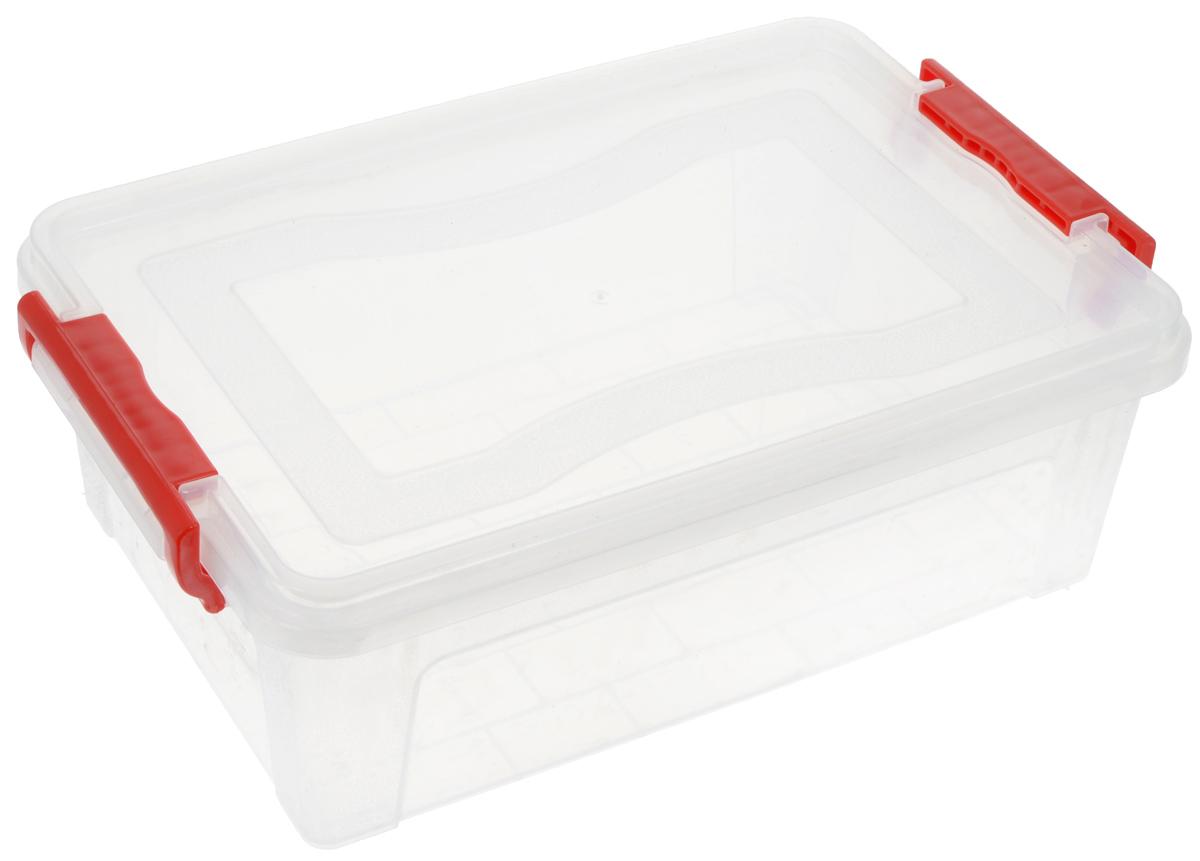 Контейнер для хранения Idea, прямоугольный, цвет: красный, прозрачный, 6,3 лS03301004Контейнер для хранения Idea выполнен из высококачественного пластика. Контейнер снабжен двумя пластиковыми фиксаторами по бокам, придающими дополнительную надежность закрывания крышки. Вместительный контейнер позволит сохранить различные нужные вещи в порядке, а герметичная крышка предотвратит случайное открывание, защитит содержимое от пыли и грязи.