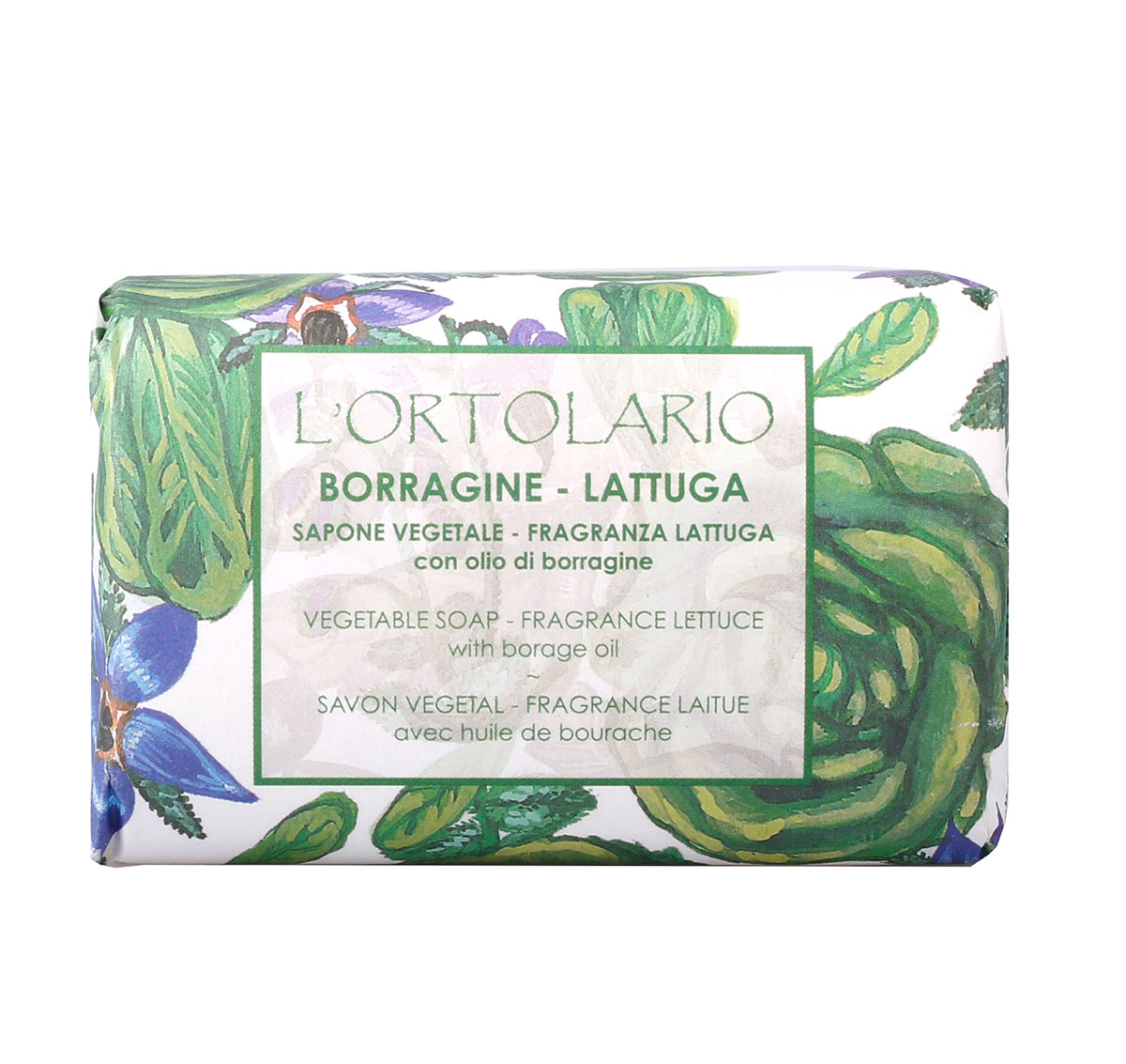 Iteritalia Мыло натуральное с ароматом латука и маслом бурачника, 150 г1080126Натуральное косметическое мыло ,изготовленное в соответствии с античными традициями мастеров Саронно.Содержит масло бурачника,которое обладает смягчающими и питательными свойствами. Для всех типов кожи,в том числе для сухой и чувствительной.