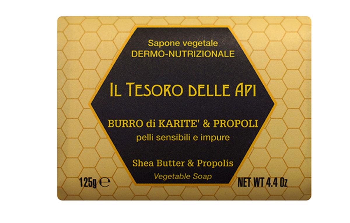 Iteritalia Мыло высококачественное натуральное растительное с питательным для кожи эффектом. МАСЛО КАРИТЭ И ПРОПОЛИС для чувствительной и проблемной кожи, 125 г071-16-5246Высококачественное натуральное растительное мыло, содержащее масло каритэ и экстракт прополиса, известные своими питательными, увлажняющими, снимающими раздражение и антибактериальными свойствами. Деликатно очищает, придавая коже приятное ощущение мягкости и бархатистости. Подходит для всех типов кожи, в том числе для чувствительной и проблемной кожи.