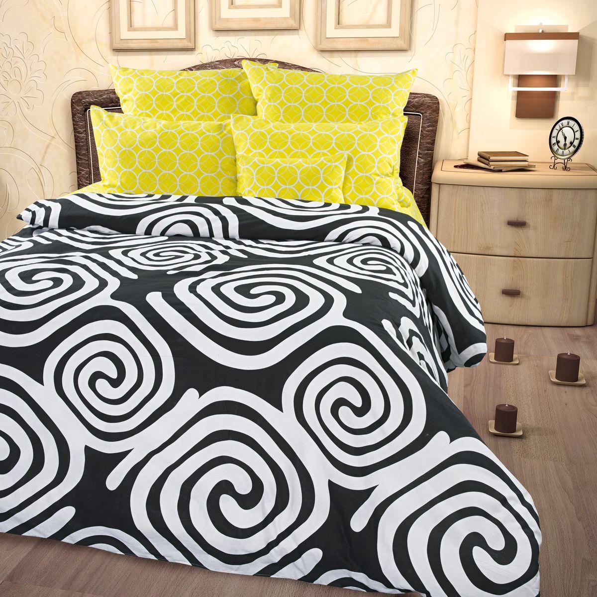 Комплект белья Roberto Rioni Catania, семейный, наволочки 50 x 70, цвет: черный. 277960277960