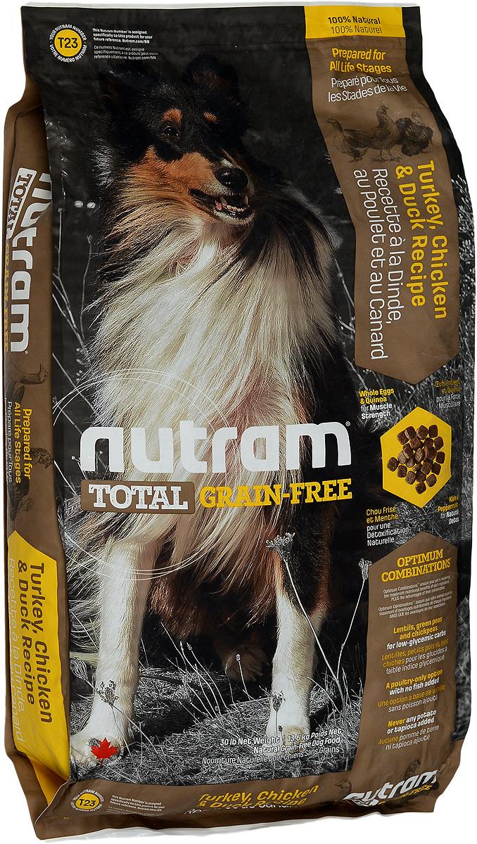 Корм сухой Nutram Total Grain-free T23, для собак, беззерновой, с индейкой, курицей и уткой, 13,6 кг0120710Сухой корм Nutram Total Grain-free T23 предназначен для собак всех возрастов. В составе корма: - Нет картофеля; - Углеводы с низким гликемическим индексом (ГИ), полученные из бобовых (турецкий горох и зеленый горошек); - Органические пребиотики (морские водоросли и инулин агавы); - Мощные супер-продукты, такие как лебеда, семена чии, свежие ягоды, гранат и капуста; - Свыше 90% свежих фруктов и овощей канадского производства. Товар сертифицирован.