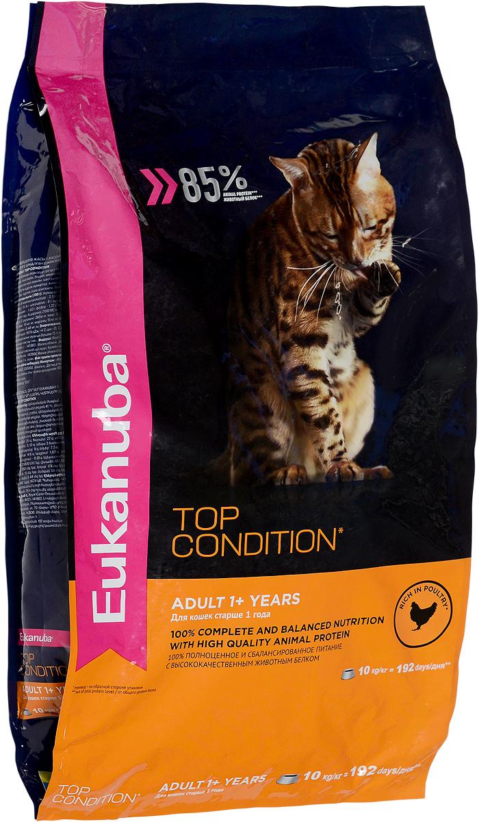 Корм сухой Eukanuba EUK Cat для взрослых кошек, с домашней птицей, 10 кг10144221Полнорационный сухой корм Eukanuba EUK Cat предназначен для взрослых кошек старше 1 года. 100% полноценное и сбалансированное питание с высококачественным животным белком. Поддерживает здоровье кошки по шести ключевым признакам и обеспечивает отличную физическую форму:Особенности корма:1. Надежная защита: способствует поддержанию иммунной системы за счет антиоксидантов.2. Оптимальное пищеварение: способствует поддержанию здоровой кишечной микрофлоры за счет пребиотиков и клетчатки.3. Здоровье мочевыводящей системы: разработан специально для поддержания здоровья мочевыводящий путей.4. Сильные мышцы: белки животного происхождения способствуют росту и сохранению мышечной массы. Содержит 85% животного белка (от общего уровня белка).5. Здоровье кожи и шерсти: способствует сохранению здоровья кожи и блестящей шерсти, благодаря рыбьему жиру и оптимальному соотношению омега-6 и омега-3 жирных кислот.6. Здоровые зубы: поддерживает здоровье зубов.Состав: белки животного происхождения (домашняя птица 41 %, источник натурального таурина), рис, жир животный, пшеница, овощные волокна, гидролизированный животный белок, пульпа сахарной свеклы, сухое цельное яйцо, фруктоолигосахариды, минералы, высушенные пивные дрожжи, рыбий жир.Пищевая ценность (100 г): белки 35 г, жиры 22 г, омега-6 жирные кислоты 3,13 г, омега-3 жирные кислоты 0,4 г, влажность 8 г, зола 7,5 г, клетчатка 4,6 г, кальций 1,63 г, фосфор 1,22 г, магний 0,08 г.Добавленные вещества: витамин A 21000 МЕ/кг, витамин D3 1000 МЕ/кг, витамин E 260 мг/кг, железо 178 мг/кг, Йод 3,1 мг/кг, медь 15 мг/кг, марганец 55 мг/кг, цинк 179 мг/кг, селен 0,48 мг/кг.Энергетическая ценность (в 100 г): 400 Ккал.Товар сертифицирован.