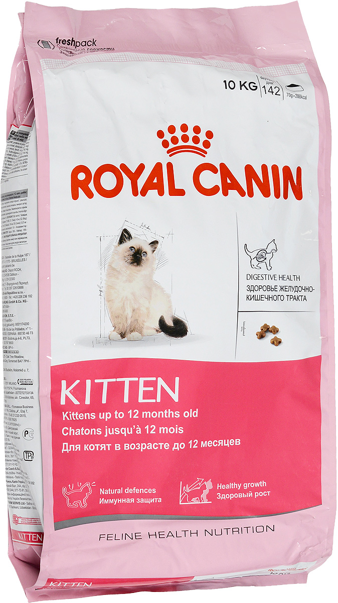 Корм сухой Royal Canin Kitten, для котят в возрасте до 12 месяцев, 10 кг0120710Сухой корм Royal Canin Kitten - полнорационный корм для котят в возрасте до 12 месяцев.Здоровье пищеварительной системы.В течение периода роста пищеварительная система котенка остается несовершенной и продолжает постепенно развиваться в течение еще нескольких недель. Уникальная комбинация питательных веществ помогает поддерживать здоровое пищеварение котенка и нормализует стул. Легкоусвояемые белки (L.I.P.), адаптированное содержание клетчатки (в том числе подорожника и пребиотиков) способствует балансу кишечной микрофлоры.Естественная защита.Комплекс антиоксидантов и пребиотики, содержащиеся в продукте KITTEN, поддерживают естественные защитные силы котенка.Гармоничный рост.Сбалансированное содержание легкоусвояемых белков (L.I.P.), витаминов и минеральных веществ в продукте KITTEN способствует росту котенка, а также удовлетворяет его энергетические потребности в период интенсивного роста. LIP.Благодаря высокоусвояемым белкам L.I.P. (90% усвояемости) снижается количество непереваренных остатков пищи в кишечнике. Товар сертифицирован.Уважаемые клиенты!Обращаем ваше внимание на возможные изменения в дизайне упаковки. Качественные характеристики товара остаются неизменными. Поставка осуществляется в зависимости от наличия на складе.