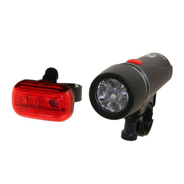 Комплект фонарей велосипедных STG STG: передний STG JY-808-11, задний. Х54097-5MW-1462-01-SR серебристыйКомплект фонарей велосипедных STG :передний JY-808-11 5 диодов, 4 функции, батарея АААх4 + задний