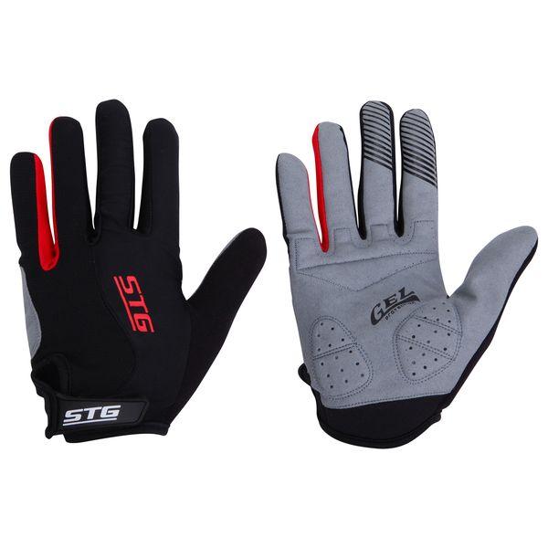 Перчатки велосипедные STG с длинными пальцами, цвет: черный. Размер XL. Х66455Z90 blackДышащие велоперчатки из кожи и лайкры. Перчатки на липучке с защитной прокладкой. Велосипедные перчатки STG обеспечат надежный хват за руль велосипеда и обезопасят руки от ссадин при внезапном падении. Поставляются в индивидуальной упаковке. Для подбора перчаток необходимо измерить ширину ладони. Измерить ее можно линейкой или сантиметром по середине ладони от указательного пальца до мизинца. Размер XL