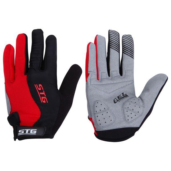 Перчатки велосипедные STG с длинными пальцами, цвет: красный. Размер L. Х66456ГризлиДышащие велоперчатки из кожи и лайкры. Перчатки на липучке с защитной прокладкой. Велосипедные перчатки STG обеспечат надежный хват за руль велосипеда и обезопасят руки от ссадин при внезапном падении. Поставляются в индивидуальной упаковке. Для подбора перчаток необходимо измерить ширину ладони. Измерить ее можно линейкой или сантиметром по середине ладони от указательного пальца до мизинца. Соответствие ширины ладони перчаток: L-9,5см