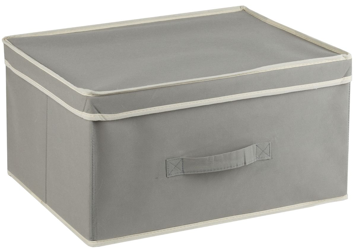Короб для хранения White Fox Standart, с крышкой, цвет: серый, 43 х 33 х 22 смБрелок для ключейКороб White Fox Standart изготовлен из нетканого полотна, наиболее популярного среди товаров для хранения вещей. Для удобства в обращении имеется ручка. Короб имеет складную конструкцию.