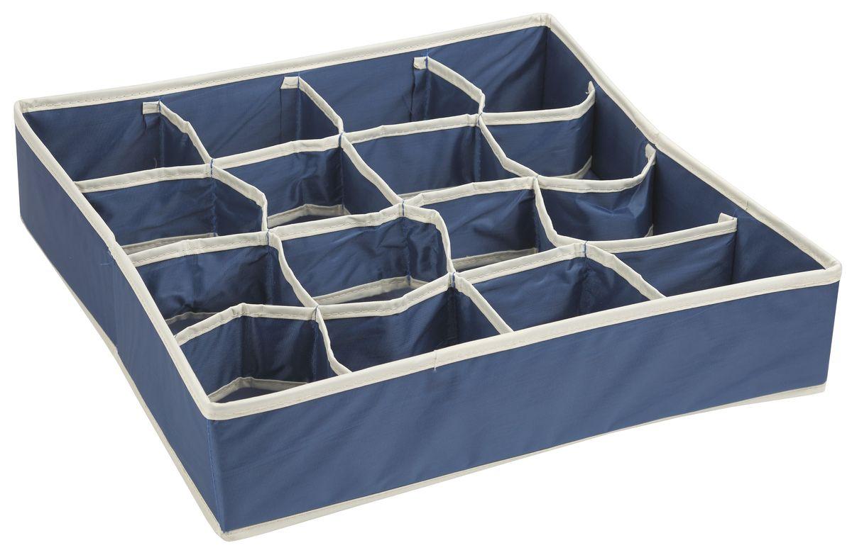 Короб для хранения White Fox Comfort, 16 секций, цвет: синий, 40 х 40 х 9 смБрелок для ключейКороб для хранения White Fox Comfort изготовлен из полиэстера с пропиткой. Изделие можно протирать, в нем не накапливается пыль, и вещи остаются чистыми. Короб имеет 1квадратных секций для хранения бытовых вещей, белья, носков и многого другого. Благодаря складной конструкции его легко хранить и перевозить.