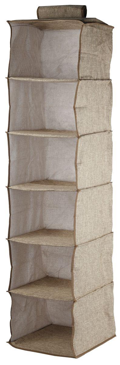 Кофр подвесной White Fox Linen, 6 полок, цвет: бежевый, 30 х 30 х 128 смES-412Подвесной кофр White Fox Linen, изготовленный из полиэстера стилизованного под лен, оснащен 6 полками. Он позволяет сохранять естественную вентиляцию и создает дополнительное пространство для хранения головных уборов, белья и мелких вещей. Благодаря удобной конструкции складывается и раскладывается одним движением. Для удобства в обращении имеется ручка. В сложенном виде изделие занимает минимум места, его легко хранить и перевозить. В таком кофре можно хранить всевозможные предметы: вещи, игрушки, рукоделие и многое другое.
