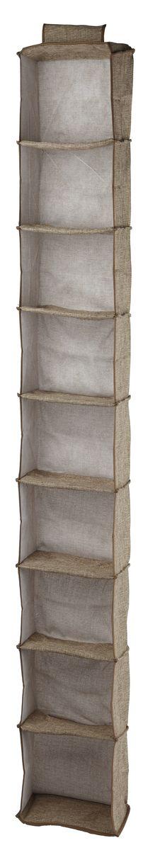 Кофр подвесной White Fox Linen, 9 полок, цвет: бежевый, 15 х 30 х 128 см16050Коллекция Linen от White Fox изготовлена из полиэстера стилизованного под Лен.В коллекции представлены самые популярные вещи: подвесные кофры, короба с крышками и без, мягкие чехлы для вещей, чехлы для костюмов.Все изделия упакованы в компактную упаковку, которая имеет подвес.Короба складываются.Размер ячейки: 13 х 29 х 14 см.