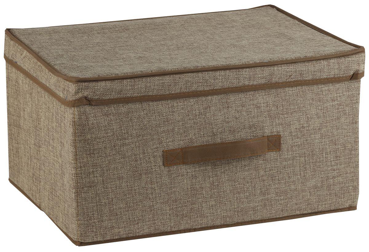Короб для хранения White Fox Linen, с крышкой, цвет: бежевый, 43 х 33 х 22 смCLP446Короб для хранения White Fox Linen изготовлен из полиэстера стилизованного под лен. Для удобства в обращении имеется ручка. Короб имеет складную конструкцию.