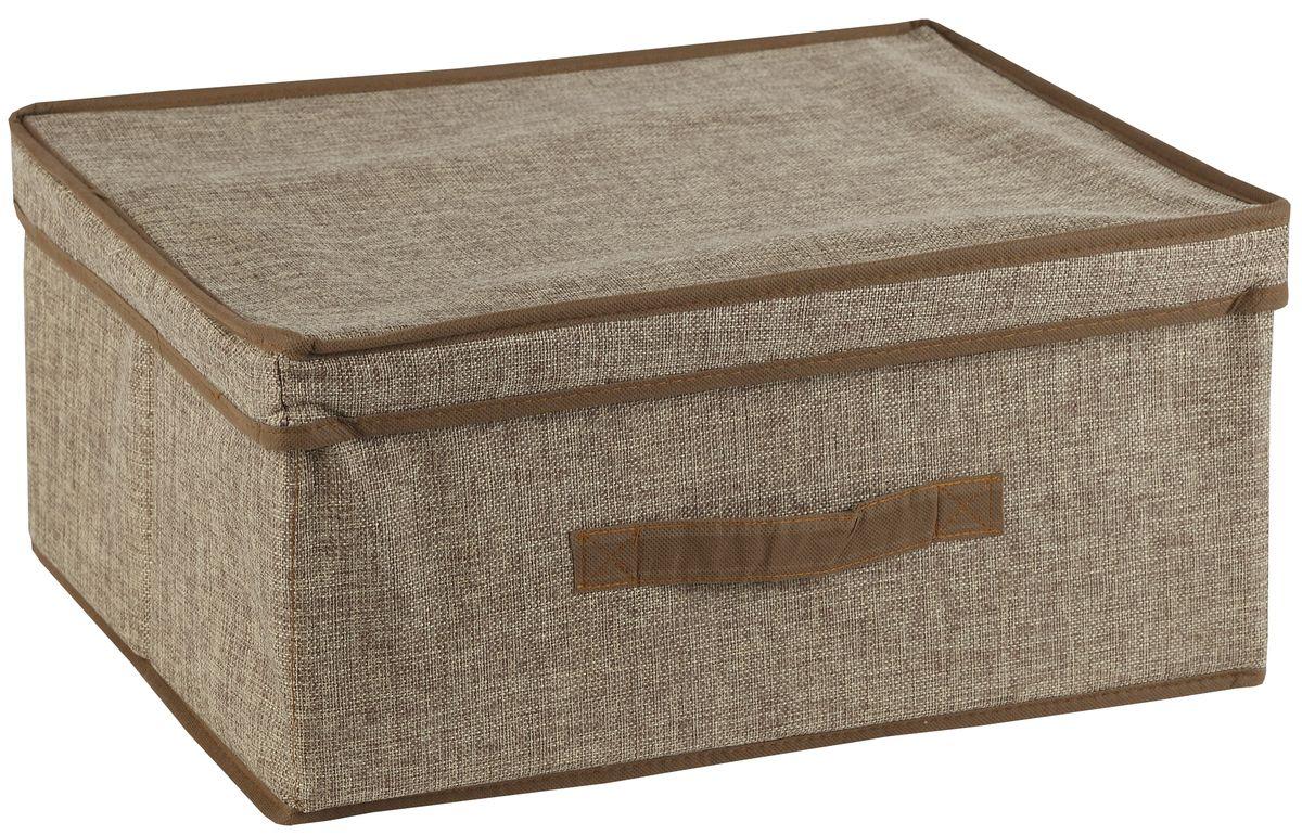 Короб для хранения White Fox Linen, с крышкой, цвет: бежевый, 38 х 33 х 18 смU210DFКороб для хранения White Fox Linen изготовлен из полиэстера стилизованного под лен. Для удобства в обращении имеется ручка. Короб имеет складную конструкцию.