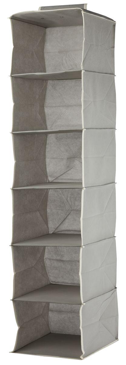 Кофр подвесной White Fox Standart, 6 полок, цвет: серый, 30 х 30 х 128 смTD 0033Подвесной кофр White Fox Standart, изготовленный из нетканого полотна, оснащен 6 полками. Он позволяет сохранять естественную вентиляцию и создает дополнительное пространство для хранения головных уборов, белья и мелких вещей. Благодаря удобной конструкции складывается и раскладывается одним движением. Для удобства в обращении имеется ручка. В сложенном виде изделие занимает минимум места, его легко хранить и перевозить. В таком кофре можно хранить всевозможные предметы: вещи, игрушки, рукоделие и многое другое.