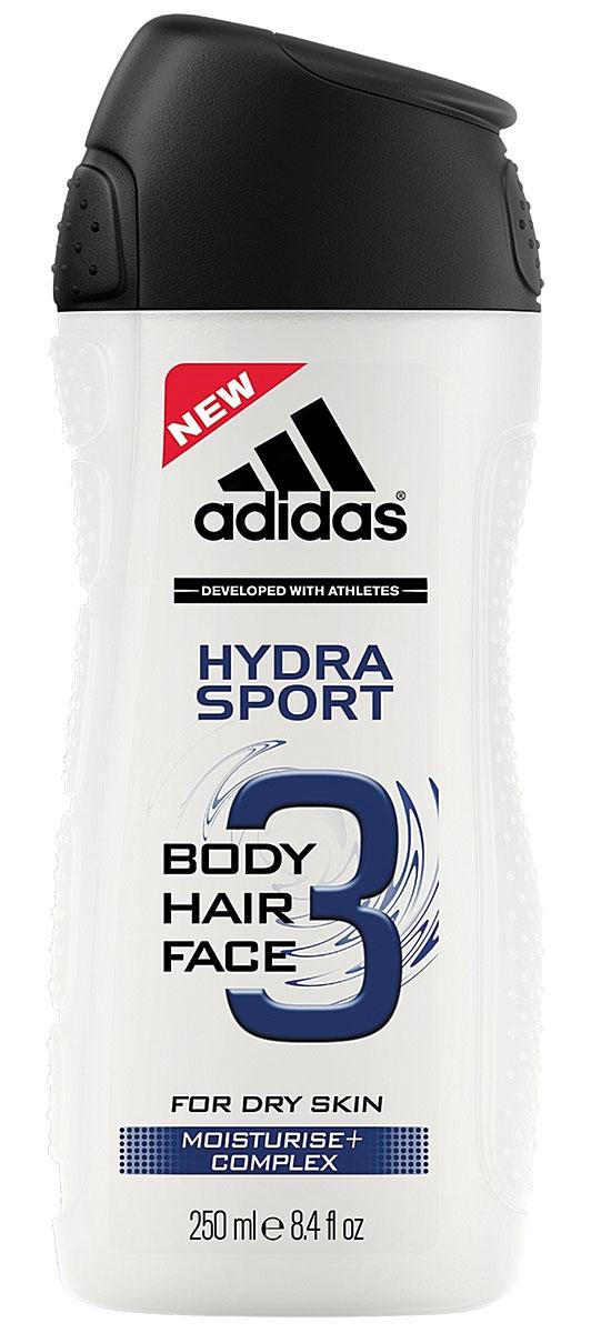 Adidas Гель для душа, шампунь и гель для умывания Body-Hair-Face Hydra Sport, мужской, 250 млFS-00897Три в одном: волосы, тело, лицо. Очищает, освежает, смягчает.