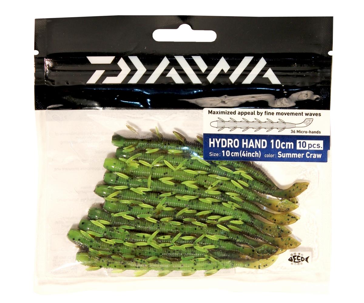 Твистер Daiwa Hydro Hand 10см, цвет: Summer Craw, 10шт. 50602PGPS7797CIS08GBNVHYDRO HAND - сделанная в Японии - мягкая приманка в форме червя. Маленькие лапки производят множество движений даже во времфя равномерной проводки, делая игру приманки невероятно реалистичной. Мягкая резина легко проглатывается окунем. Действительно выдающаяся приманка для ловли окуня. Идеально для использования с остнасткой Carolina или для ловли по методу Drop Shot. Особенна хороша для водоемов с течением.