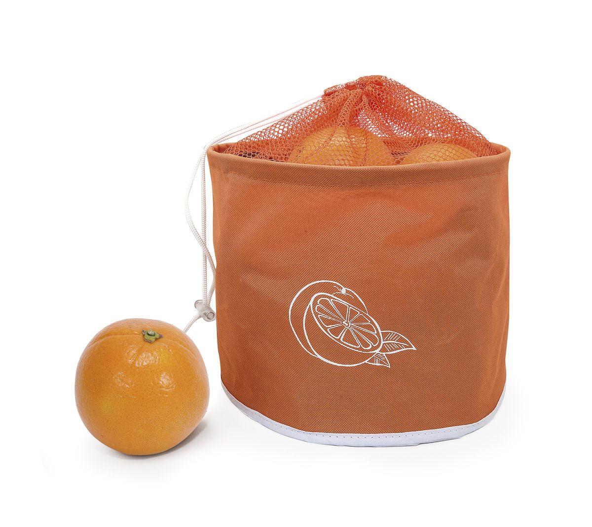 Сумка для хранения цитрусовых Iris Barcelona, до 5 кг, цвет: оранжевыйI9511-TСумка для хранения цитрусовых Iris Barcelona поможет сохранить фрукты свежими. Сумка довольно вместительная, может держать до 5 кг. Она очень компактная, складывается как обычный тряпичный пакет.