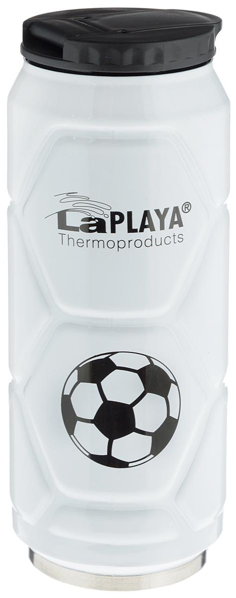Кружка-термос LaPlaya Football Can, цвет: белый, 500 мл115510Кружка-термос LaPlaya Football Can идеально подходит для сохранения температуры горячих (6 часов) и холодных напитков (12 часов). Кружка имеет двойные стенки из нержавеющей стали и превосходную вакуумную изоляцию. Герметичная и гигиеничная крышка с клапаном легко открывается одной рукой. Изделие имеет компактные размеры, его легко размещать в большинстве автомобильных держателей стаканов или небольших сумках. При открывании стопор предотвращает резкий выход газов и расплескивание напитков. Кружка-термос идеальна для прохладительных газированных напитков. Изделие декорировано рельефом, изображением футболистов и надписью: Goal!.Диаметр горлышка: 6 см. Высота термоса: 19 см.