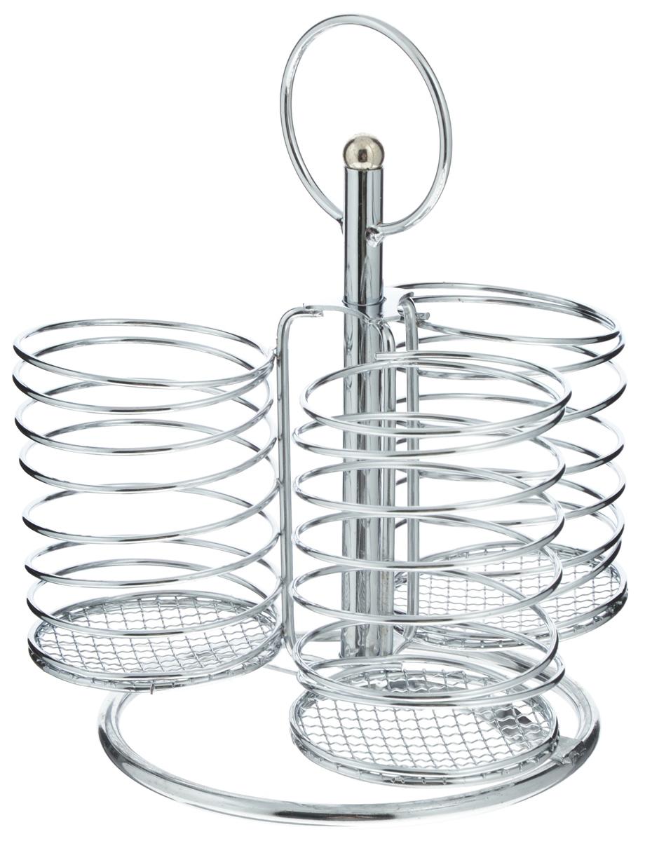 Подставка для столовых приборов Mayer & Boch, 3 секции2969Подставка для столовых приборов Mayer & Boch представляет собой каркас из хромированного металла. Подставка разделена на 3 секции с сетками в нижней части. Она позволяет аккуратно хранить основные типы столовых приборов. Вы можете установить подставку в любом удобном месте. Такая подставка для столовых приборов станет полезным аксессуаром в домашнем быту и идеально впишется в интерьер современной кухни.Высота подставки: 22 см.Диаметр секции: 7 см.